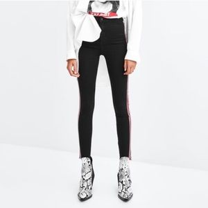Zara Black High Rise Skinny Jeans Red White Stripe